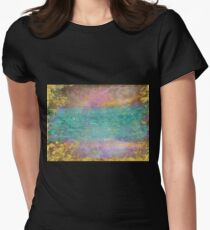 Sunset, Barbados - Impressionist original painting with gold leaf Womens Fitted T-Shirt