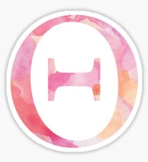 Theta Pink Watercolor Letter Sticker