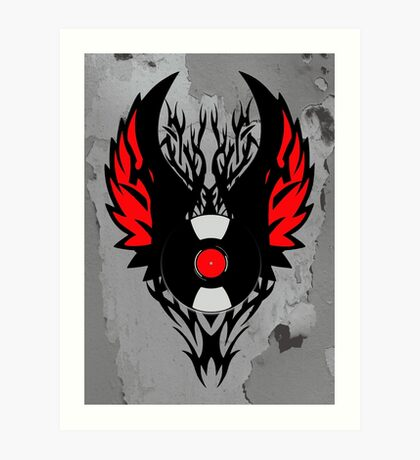 PUNK ROCK DJ Vinyl Record Art with Tribal Spikes and Wings  Art Print