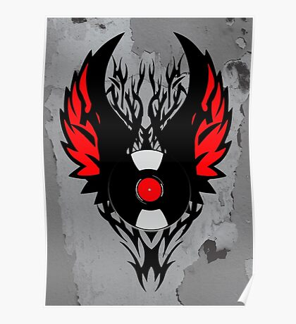 PUNK ROCK DJ Vinyl Record Art with Tribal Spikes and Wings  Poster