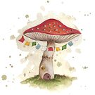 Toadstool House with Prayer Flags by Rebecca Barkley