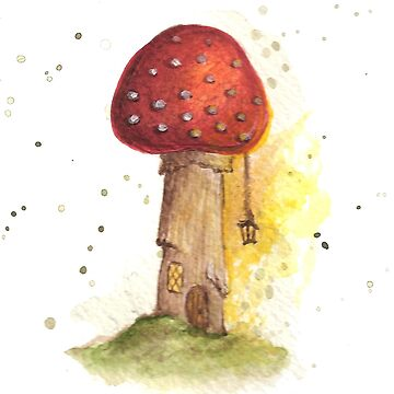 Toadstool House with Lantern by beckyb