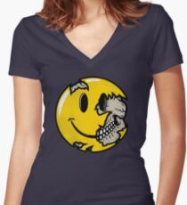 Smiley face skull Women's Fitted V-Neck T-Shirt