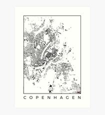 Copenhagen Map Schwarzplan Only Buildings Art Print