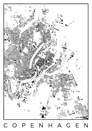 Copenhagen Map Schwarzplan Only Buildings by HubertRoguski