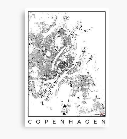 Copenhagen Map Schwarzplan Only Buildings Canvas Print
