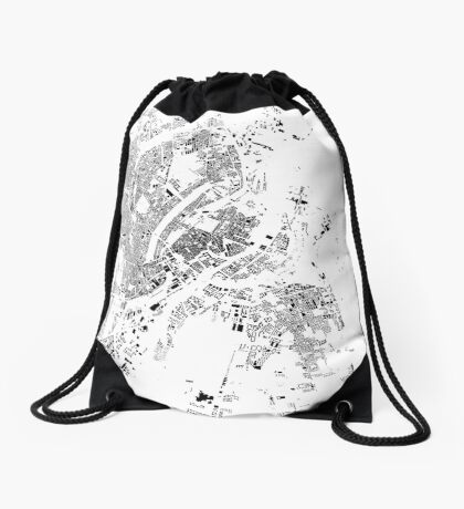 Copenhagen Map Schwarzplan Only Buildings Drawstring Bag