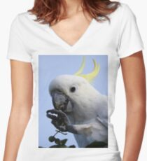 Sulphur Crested Cockatoo Women's Fitted V-Neck T-Shirt
