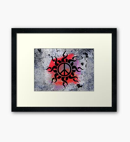 Cool Peace Sign with Paint Framed Print