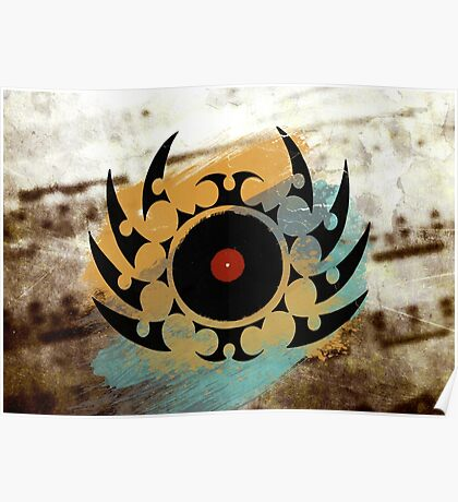 Retro Vinyl Records Music - Vinyl With Paint and Tribal Spikes - DJ TShirt Poster