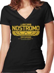 USCSS Nostromo Logo Alien Movie T-shirt Women's Fitted V-Neck T-Shirt