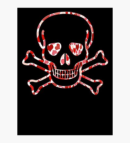 Skull with Hearts - Cool Skull Design Photographic Print