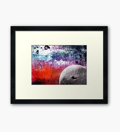 Lunatic Love - The moon and Heart - Grunge Textures Framed Print