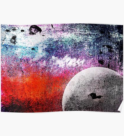 Lunatic Love - The moon and Heart - Grunge Textures Poster