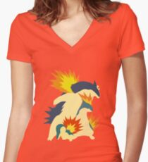 Cyndaquil Evolution Women's Fitted V-Neck T-Shirt