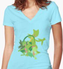 Treecko Evolution Women's Fitted V-Neck T-Shirt