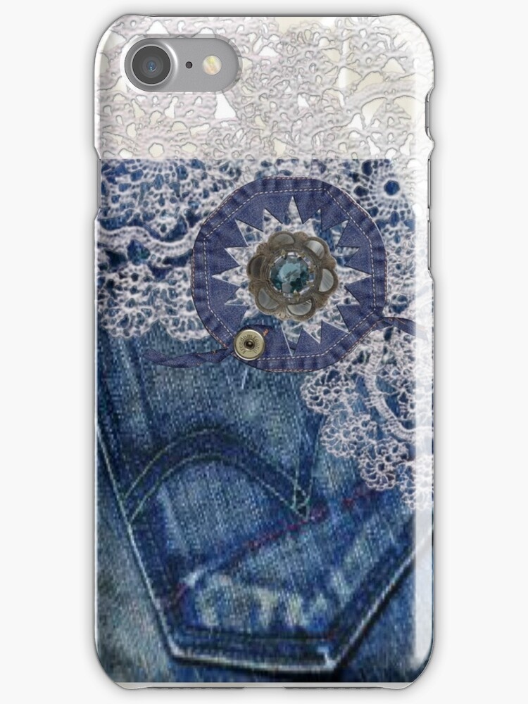Denim & Lace - iPhone Case by judygal