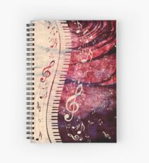 Piano Keyboard with Music Notes Grunge Spiral Notebook