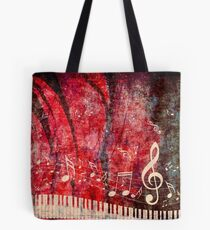 Piano Keyboard with Music Notes Grunge 2 Tote Bag
