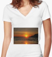 0573 Sunset at Squeaky Beach Women's Fitted V-Neck T-Shirt