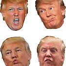 4 pack stickers Trump Heads by Thelittlelord