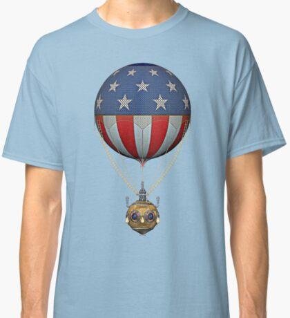 Steampunk Stars and Stripes Vintage Hot Air Balloon Classic T-Shirt
