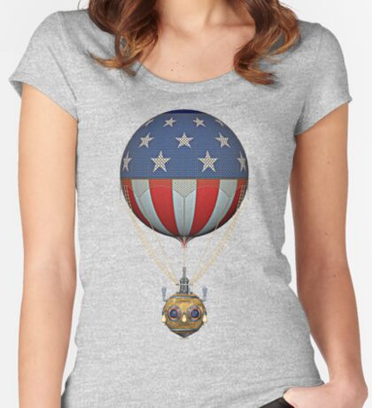 Steampunk Stars and Stripes Vintage Hot Air Balloon Fitted Scoop T-Shirt