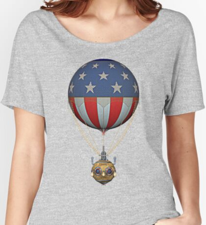 Steampunk Stars and Stripes Vintage Hot Air Balloon Women's Relaxed Fit T-Shirt