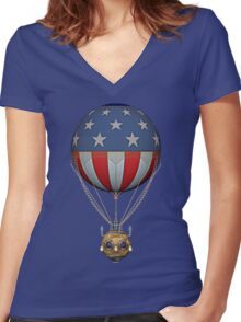 Steampunk Stars and Stripes Vintage Hot Air Balloon Women's Fitted V-Neck T-Shirt