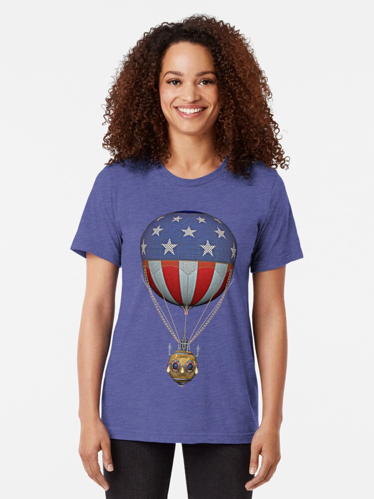 Alternate view of Steampunk Stars and Stripes Vintage Hot Air Balloon Tri-blend T-Shirt