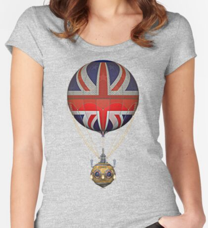 Steampunk Union Jack Vintage Hot Air Balloon Women's Fitted Scoop T-Shirt