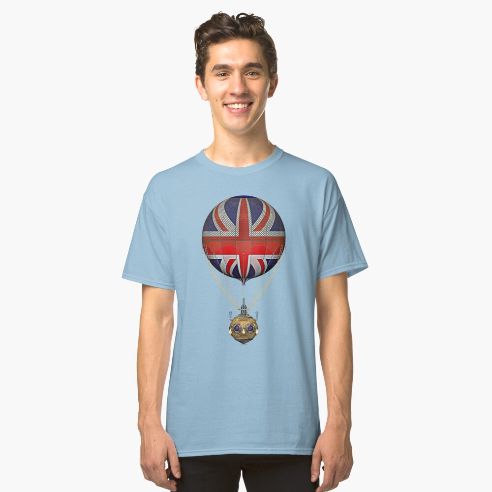 Steampunk Union Jack Vintage Hot Air Balloon Classic T-Shirt