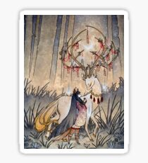The Wish - Kitsune Fox Deer Yokai Sticker