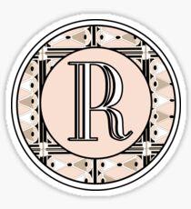 1920s Pink Champagne Deco Monogram letter R Sticker