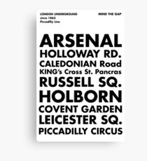 Piccadilly Line in Futura Canvas Print