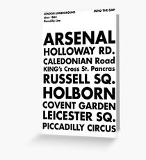 Piccadilly Line in Futura Greeting Card