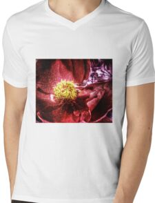 vivid red flower macro with pollen Mens V-Neck T-Shirt