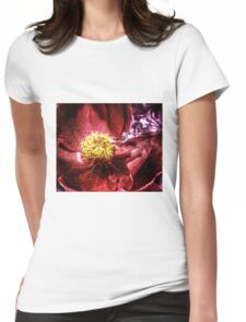 vivid red flower macro with pollen Womens Fitted T-Shirt