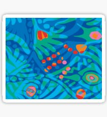 Colorful Tropical Print Abstract Art Mini Skirt in Blue and Green Sticker