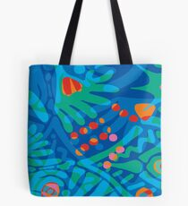 Colorful Tropical Print Abstract Art Mini Skirt in Blue and Green Tote Bag