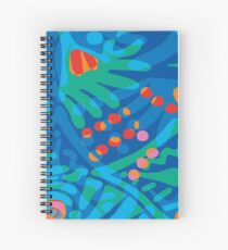Colorful Tropical Print Abstract Art Mini Skirt in Blue and Green Spiral Notebook