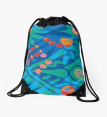 Colorful Tropical Print Abstract Art Mini Skirt in Blue and Green Drawstring Bag