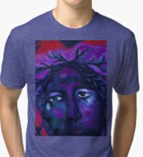 Mother Watching All - Crimson & Violet Compassion  Tri-blend T-Shirt