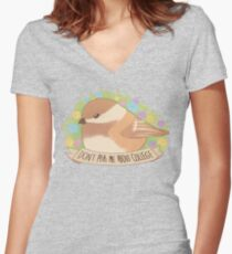 """Don't ask me about college"" Chickadee Women's Fitted V-Neck T-Shirt"