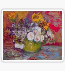 'Still Life with Roses and Sunflowers' by Vincent Van Gogh (Reproduction) Sticker