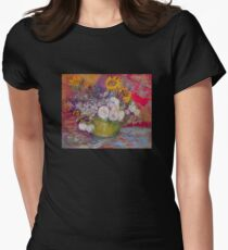'Still Life with Roses and Sunflowers' by Vincent Van Gogh (Reproduction) Womens Fitted T-Shirt