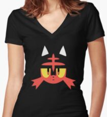 Pokemon Sun / Moon Litten New  Women's Fitted V-Neck T-Shirt
