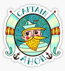Seaman Illustration with a lighthouse in the style of an old tattoo.  Sticker