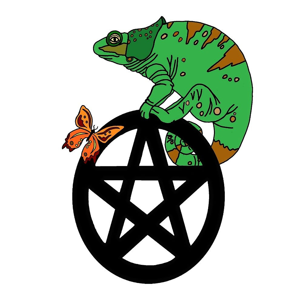 Chameleon and Butterfly Pentacle by imphavok