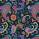 Pastel Blue Tones Vintage Orante Floral Paisley Pattern by artonwear